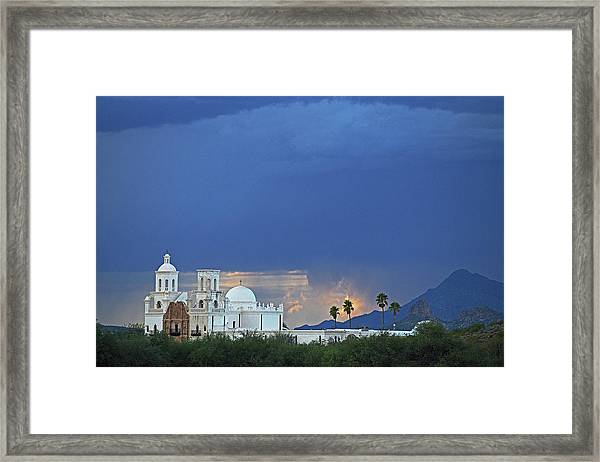 Monsoon Skies Over The Mission Framed Print
