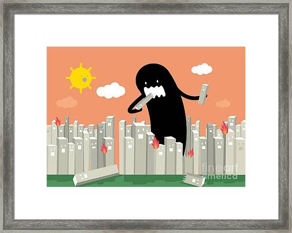 Monster In The City Vectorillustration Framed Print