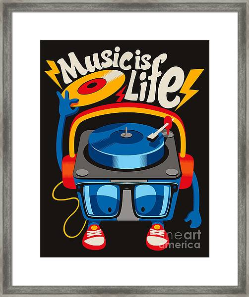 Monster Turntable Vector Design Framed Print