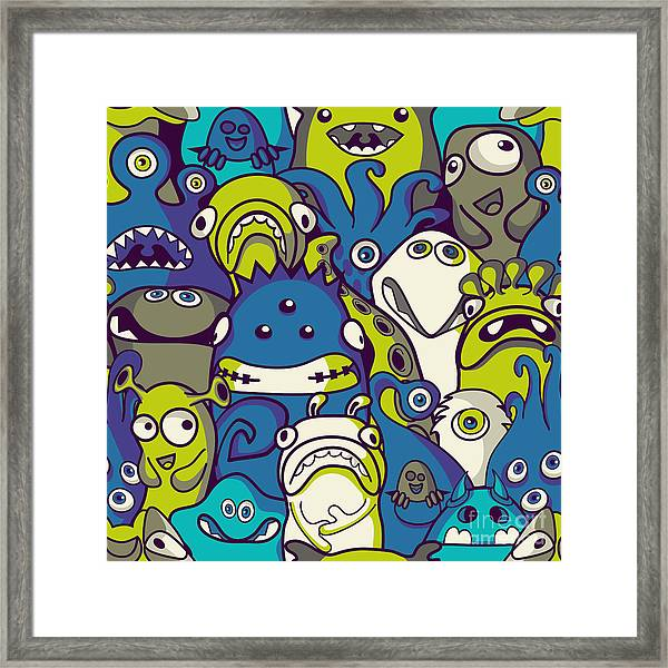 Monsters And Aliens- Seamless Background Framed Print