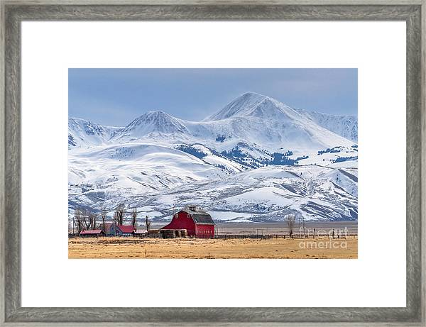 Montana Farm Dwarfed By Tall Mountains Framed Print