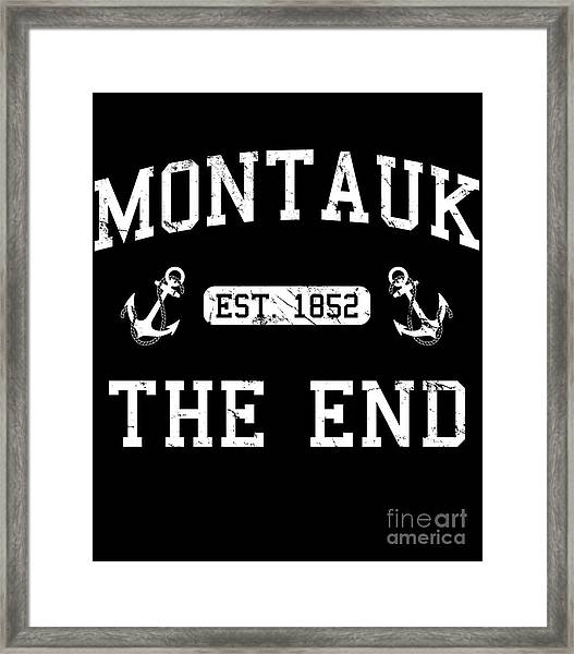 Framed Print featuring the digital art Montauk Established 1852 by Flippin Sweet Gear