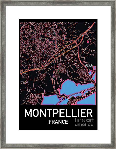 Montpellier City Map Framed Print