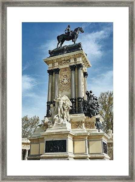 Monument To King Alfonso Xii At Retiro Park In Madrid, Spain Framed Print