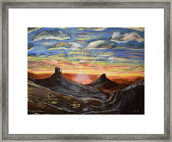 Monument Valley And Kokopelli Framed Print