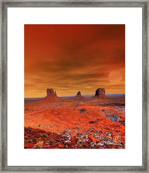 Monument Valley Arizona With Evening Framed Print