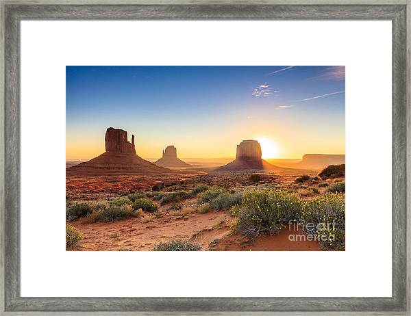 Monument Valley Twilight, Az, Usa Framed Print