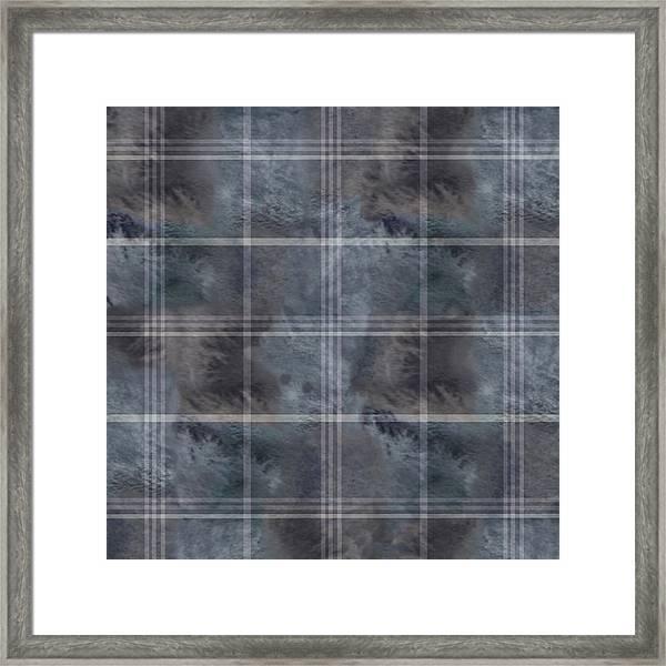 Moody Blue Plaid Framed Print