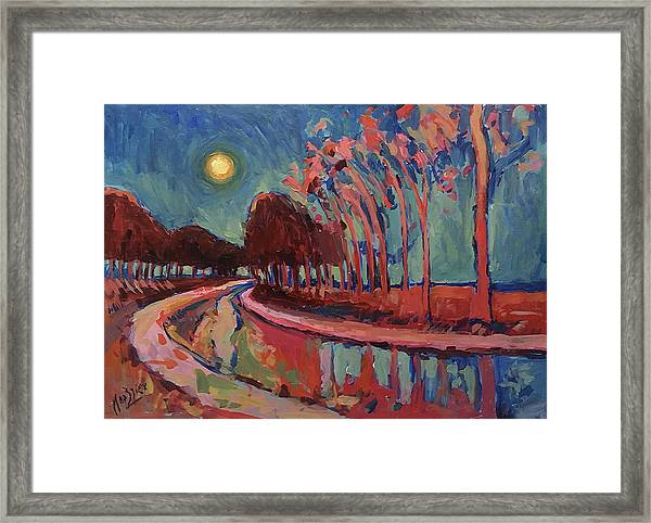 Moon Night At The Canal Framed Print