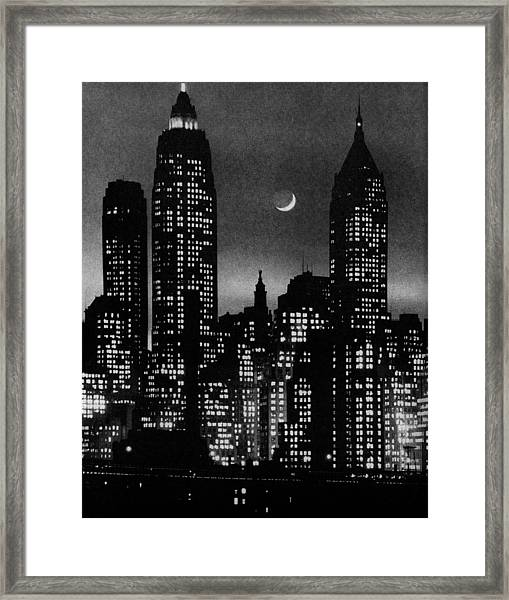 Moon Over Manhattan Framed Print