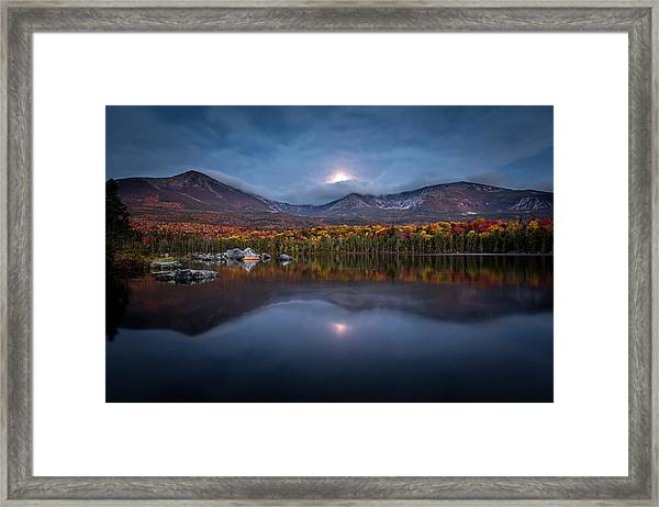 Moon Set At Sandy Stream Pond, Baxter State Park Framed Print