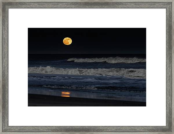 Framed Print featuring the photograph Moonrise Over Assateague Island Beach by William Dickman