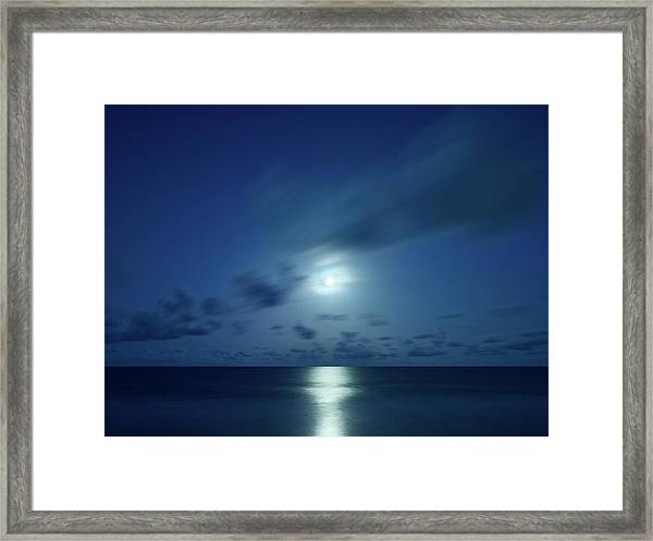 Moonrise Over The Sea Framed Print