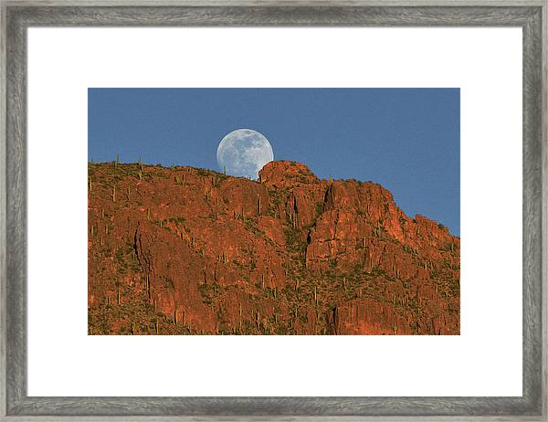 Moonrise Over The Tucson Mountains Framed Print