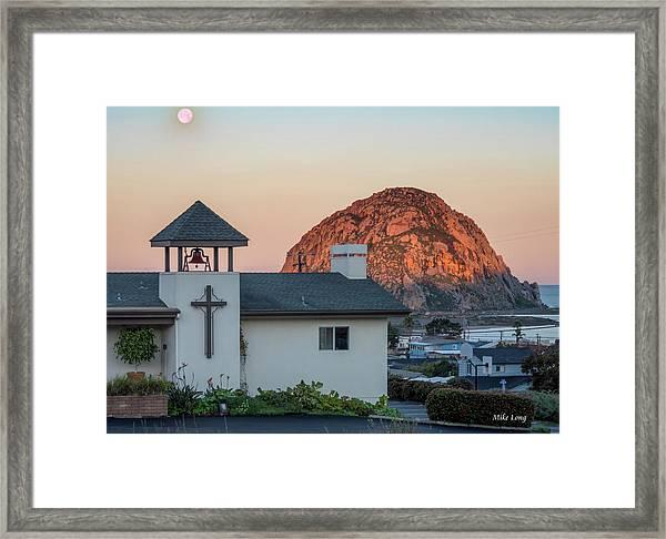 Moonset Above Morro Rock Framed Print