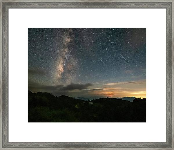 Framed Print featuring the photograph Moonset Milky Way And Shooting Star by William Dickman