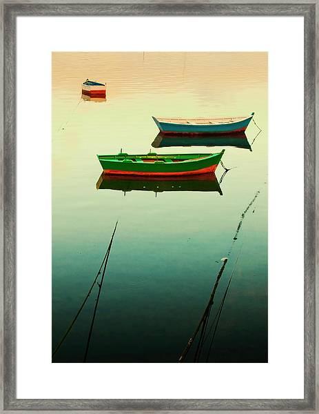 Moored Boats At Sunset Framed Print