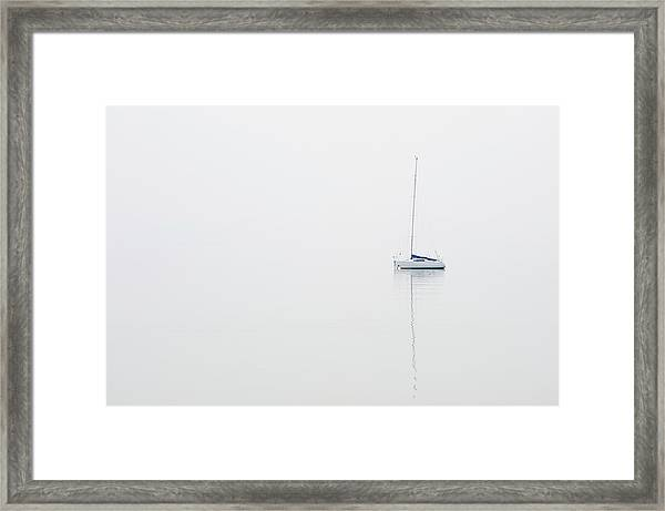 Moored Sailboat On Lake Garda Framed Print