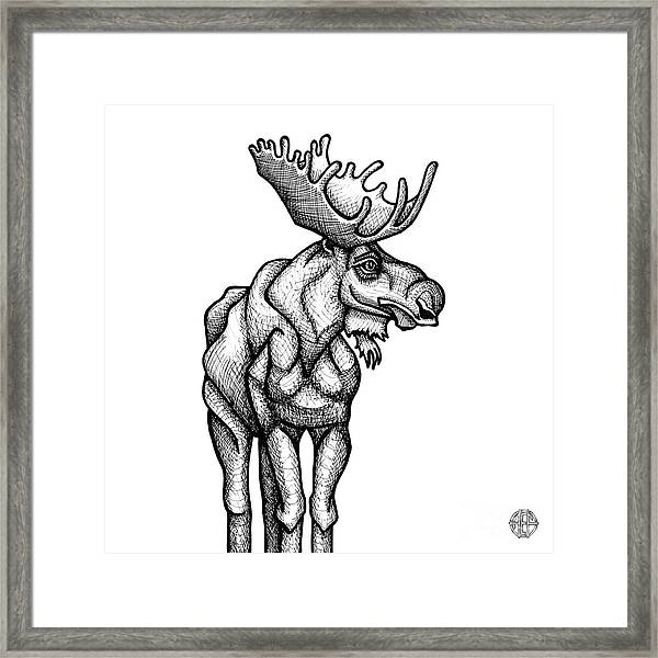 Framed Print featuring the drawing Moose by Amy E Fraser