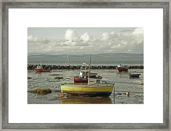 Morecambe. Boats On The Shore. Framed Print