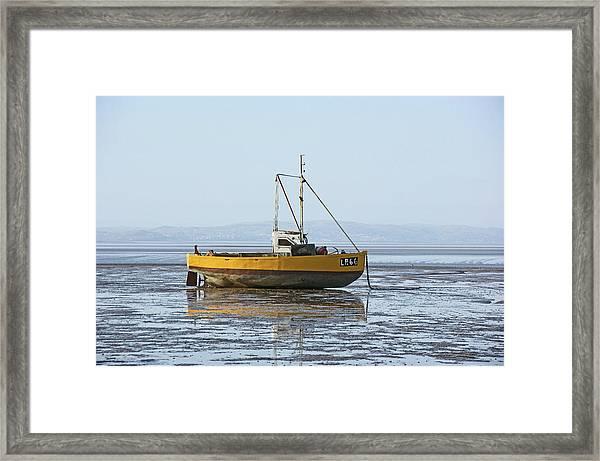 Morecambe. Yellow Fishing Boat. Framed Print