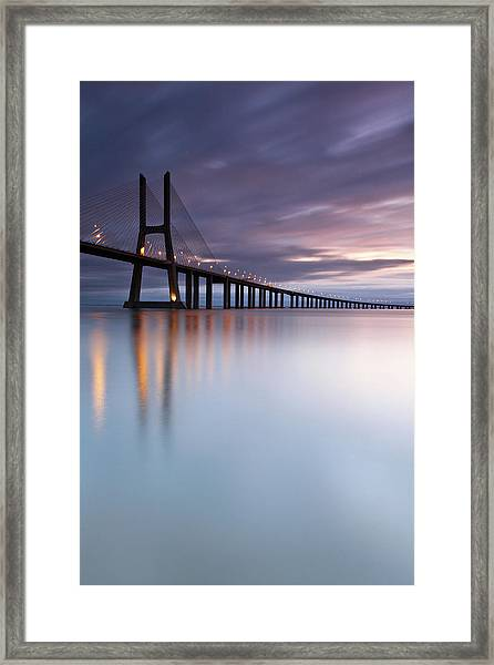 Morning Mirror- Vasco Da Gama Bridge Framed Print