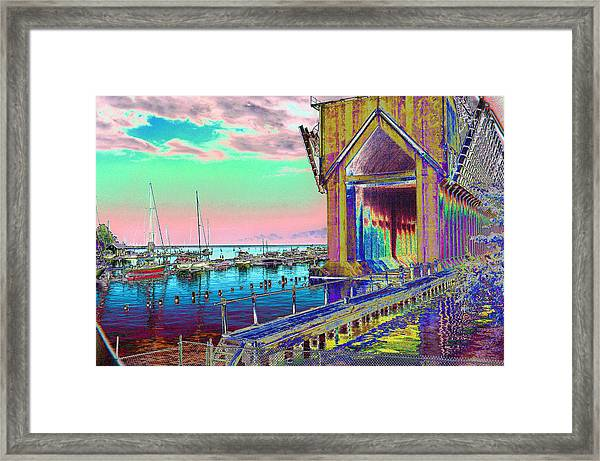 Morning Pink Marquette Ore Dock Framed Print
