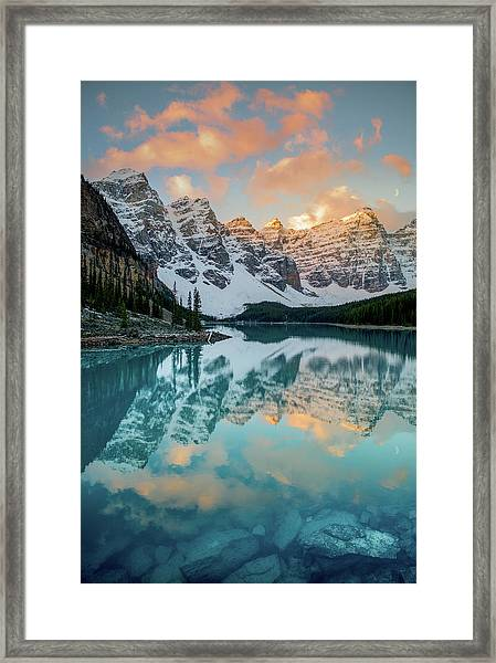 Morraine Lake Moonset / Alberta, Canada  Framed Print