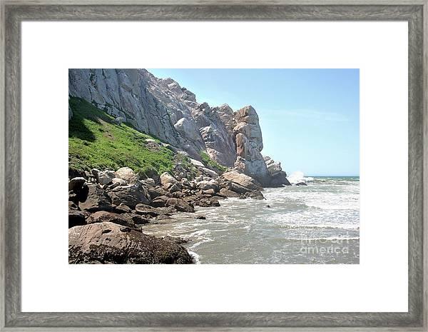 Morro Rock And Ocean Framed Print