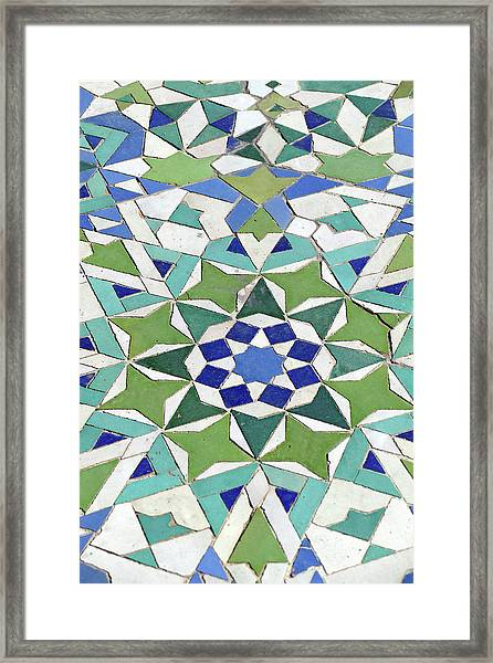 Mosaic Exterior Decorations Of The Hassan II Mosque Framed Print