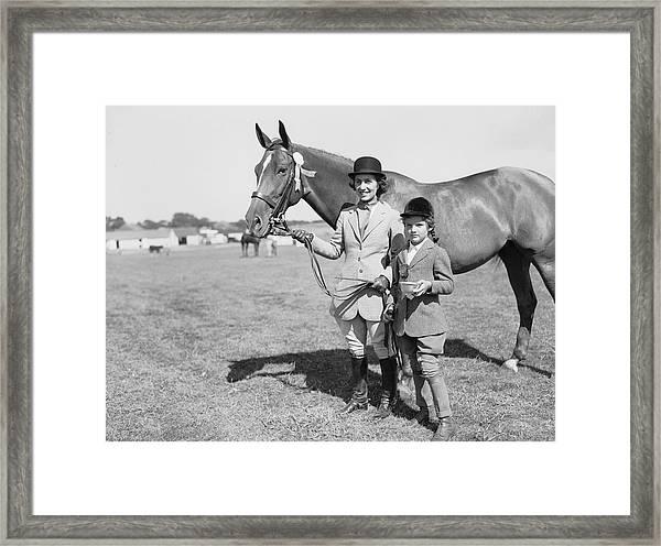Mother & Daughter Equestrians Framed Print