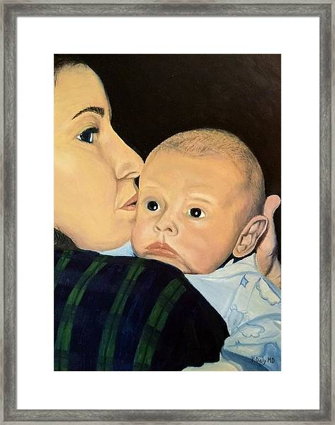 Framed Print featuring the painting Mother And Son by Kevin Daly