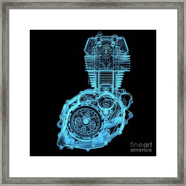 Motocycle Engine 3d X-ray Blue Framed Print