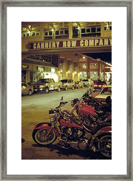 Motor Bikes And Cars Parking At Cannery Framed Print