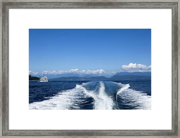 Motor Yacht Boat Wake Motorboating Framed Print
