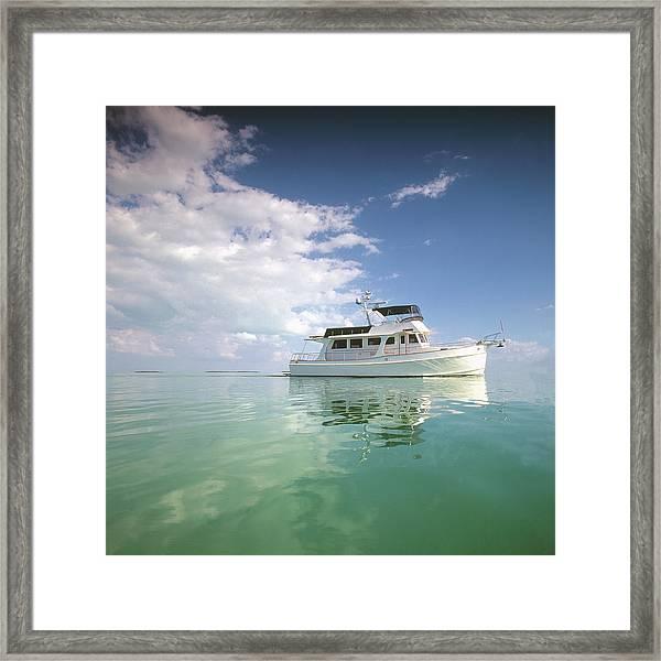 Motor Yacht In Calm Sea Framed Print