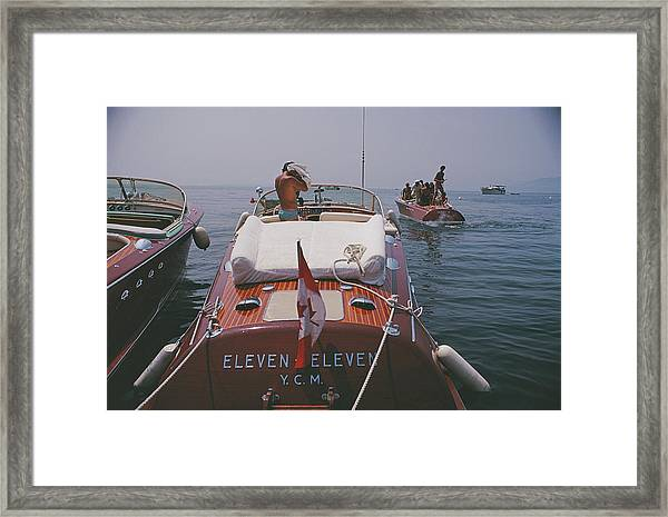 Motorboats In Antibes Framed Print by Slim Aarons