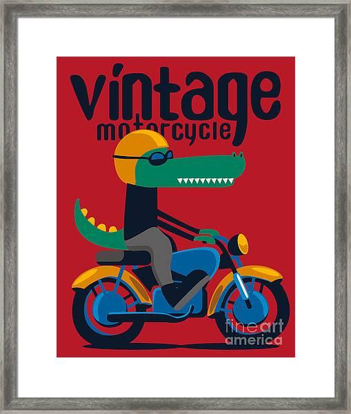 Motorcycle, Rider, Crocodile Vector Framed Print