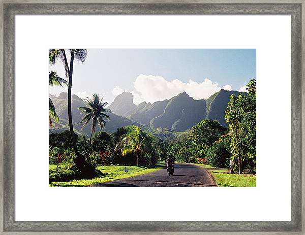 Motorcyclist On Polynesian Road Framed Print