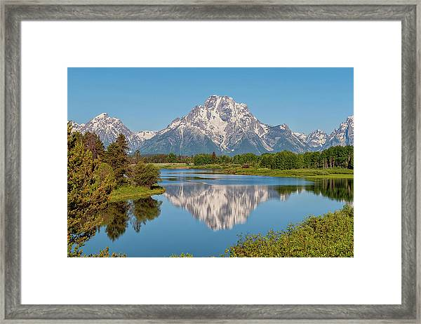 Mount Moran On Snake River Landscape Framed Print