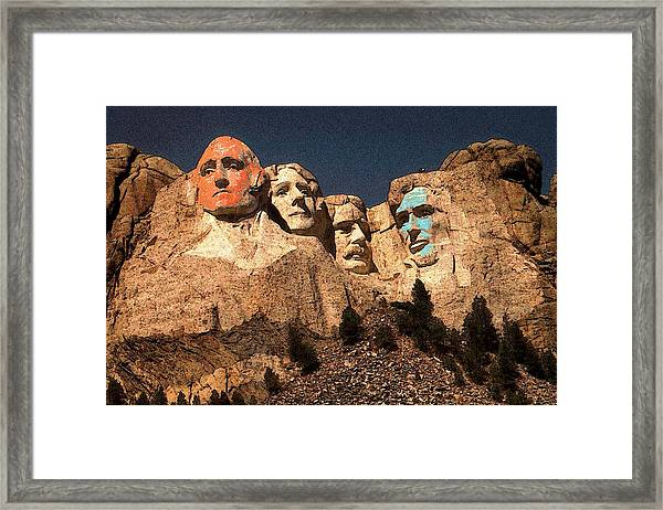 Mount Rushmore Red And Blue Drawing Framed Print