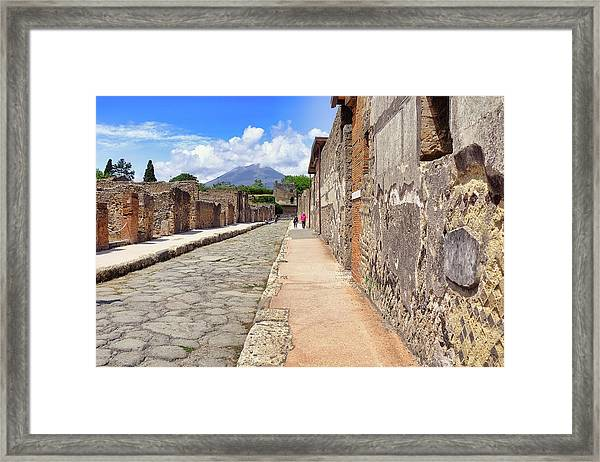 Mount Vesuvius And The Ruins Of Pompeii Italy Framed Print