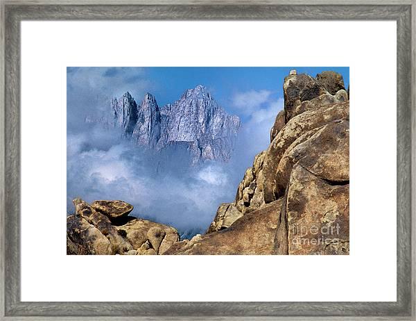 Mount Whitney Clearing Storm Eastern Sierras California Framed Print