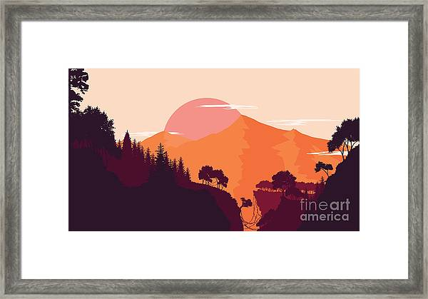 Mountain And Forest Landscape In Day Framed Print