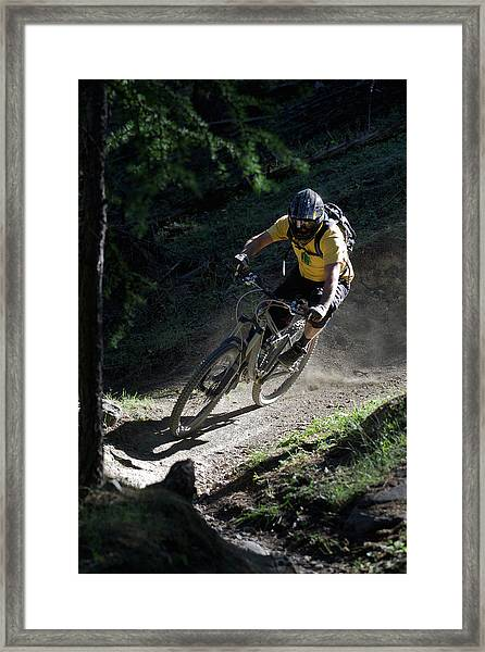 Mountain Biker On Dirt Path Framed Print