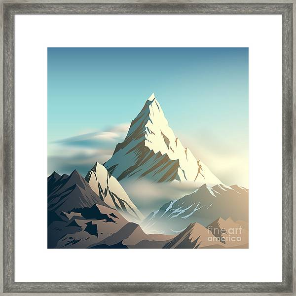 Mountain Illustration Framed Print