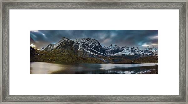 Mountain Lake In Norway On Lofoten Near Nusfjord Framed Print