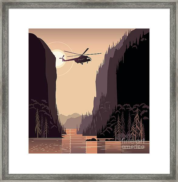 Mountain Landscape And Helicopter Framed Print