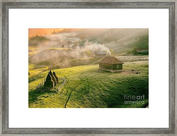 Mountain Landscape In Summer Morning Framed Print