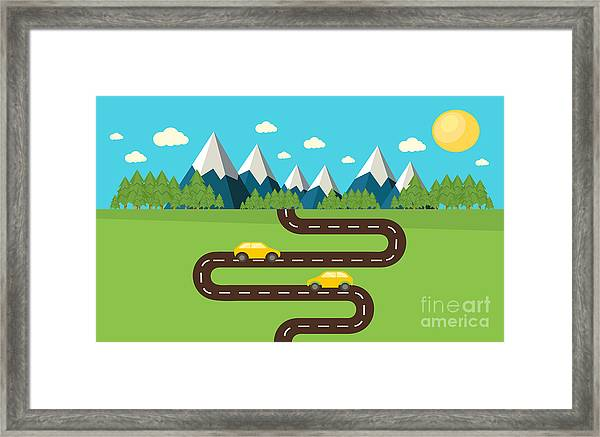 Mountain Landscape Vector Framed Print